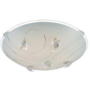 LED-Deckenleuchte - Opalglas mit Kristallmuster und klarem Rand , Ø 25cm LED 8W, 640lm, 3100K