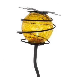 LED Solarspieß Kugel mit gelber Glaskugel und gelber LED