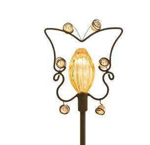 LED Solarspieß Schmetterling mit gelbem Glas und gelber LED