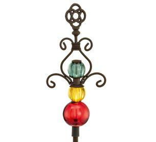 LED Solarspieß Ornament mit Multicolor Glas und weißer LED