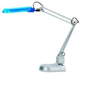 Schreibtisch-Funktionsleuchte mit blauem Reflektor mit Standfuß oder Tischklemme