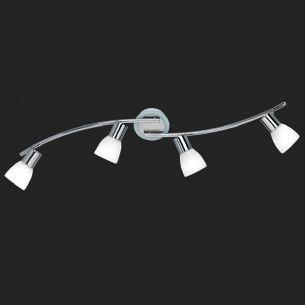 Moderner, schwenkbarer Deckenstrahler aus verchromtem Metall mit Opalgläsern - 4-flammig inklusive 28W E14 Tropfenlampen 6er Pack