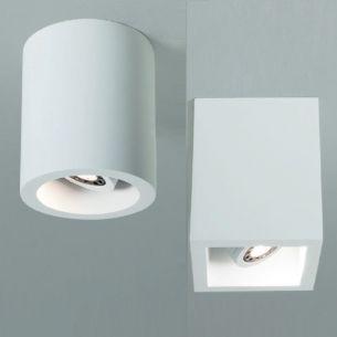 LED - Downlight in runder oder eckiger Ausführung wählbar, aus Gips, IP20, beliebig anstreichbar
