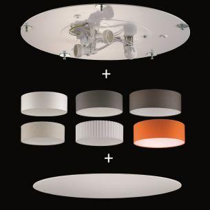 Deckenleuchte aus dem Baukasten - Ø 40cm - Deckenplatte + Stoff-Lampenschirm + Sichtblende - 3x E14 à 25W