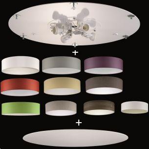 Deckenleuchte aus dem Baukasten - 50 cm Durchmesser - Deckenplatte + Stoff-Lampenschirm + Sichtblende - 4 x E14 à 25 Watt
