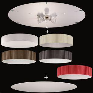 Deckenleuchte aus dem Baukasten - Ø75cm - Deckenplatte + Stoff-Lampenschirm + Sichtblende - 3 x E27 à 40 Watt