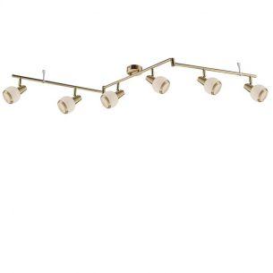 Deckenstrahler in Messing matt - inklusive LED- Leuchtmittel, 6x E14 - 3Watt - warmweißes Licht, 3000°K