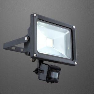 20Watt LED-Flutlichtstrahler mit Bewegungsmelder, 36V, aus Aluminium, Druckguss dunkelgrau, Klarglas, inklusive LED - 1300lm, IP44
