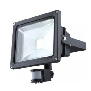 30Watt LED-Flutlichtstrahler mit Bewegungsmelder, 36V, aus Aluminium, Druckguss dunkelgrau, Klarglas, inklusive LED - 1950lm, IP44