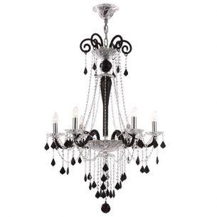 6 flammige Krone Chrom mit schwarzem Kristallbehang - Licht für höchste Wohnansprüche