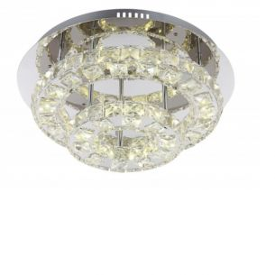 LED-Deckenleuchte Ø 42cm, Chrom, Acryl-Kristall, inklusive 27 Watt - LED neutralweiß