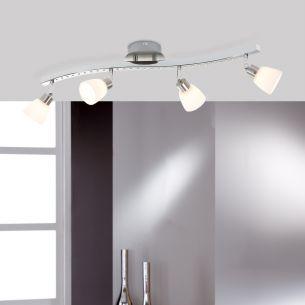 Deckenstrahlerbalken - 4-flammig - Nickel-matt und Chrom - Inklusive LED 27 x 0,06 Watt und G9 4 x 33 Watt