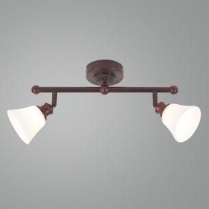 Wand- oder Deckenstrahler - Landhausstil - Dunkelbraun - 2-flammig - Inklusive Halogenleuchtmittel 2 x G9  33 Watt
