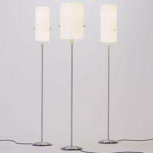 Dimmbare Design-Standleuchte CLUB FLOOR in Aluminium gebürstet mit Chintz-Schirm creme - verschiedene Größen