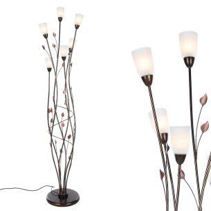 Stehleuchte im Florentiner Stil - Metall - Alabasterglas -  Brauntöne