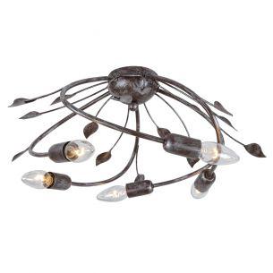 Rustikale Deckenleuchte - 5-flammig - Rostbraun - Antik - mit schönen Details