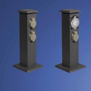 Energiesäulen aus pulverbeschichtetem Edelstahl, mit 4 Steckdosen oder 2 Steckdosen mit Zeitschaltuhr