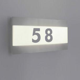 Moderne LED-Außenwandleuchte - Inklusive Hausnummernaufkleber - Edelstahl - Kunststoff - LED 2 x 2,5 Watt