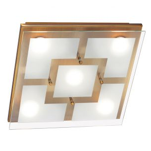 Dimmbare LED-Deckenleuchte in Altmessing - 30cm x 30cm - inklusive 5x 4,8Watt LED-XMO Modul, Lichtfarbe 3000°K
