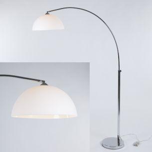 Moderne Bogenleuchte - Chrom Stehleuchte - Kunststoffschirm Weiß Stehlampe blendfrei modern - Mit Schnurdimmer