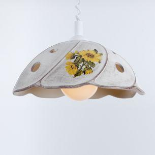 Nostalgische Küchenbeleuchtung - Pendelleuchte mit Spiralkabel - Keramik antik-grau mit Sonnenblumen-Dekor