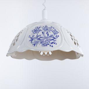 Nostalgische Küchenbeleuchtung - Pendelleuchte mit Spiralkabel - Keramik Weiß mit blauem Dekor