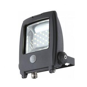 Schwenkbarer LED-Baustrahler aus grauem Aluminium mit Klarglas - inklusive LED und Sensor