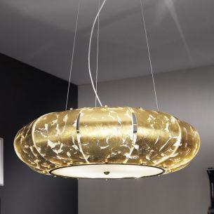 Pendelleuchte SOFIA von Kolarz® in Blattgold auf Weiß Ø 70cm 24 Karat Gold
