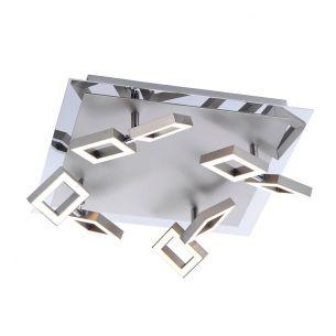 8-flammige LED-Deckenleuchte im eckigen Design - Nickel-matt - mit 8 x LED-Board 2,5W, je 230lm - 3000°K warmweiß