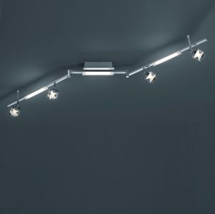 Schwenkbare LED-Deckenleuchte in Alu poliert, 7-flg.