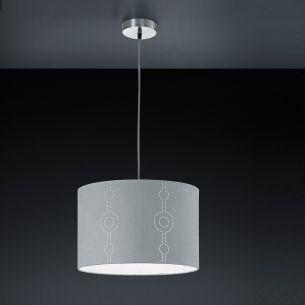 Pendelleuchte Grannus mit Dekorstoffschirm grau, 38 cm