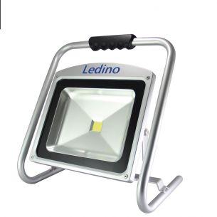 Ledino LED-Flutlichtstrahler 50W,  A++, Li-Ion Akku 6,6Ah, grau, IP 65, 4500lm, mit 3 verschiedenen Lichtstufen,
