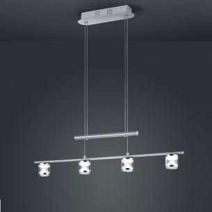Höhenverstellbare LED-Zugpendelleuchte in Nickel-matt, 4-flg.
