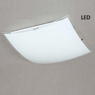 LED Deckenleuchte Nickel matt Glas weiß mit Klarrand, inklusive 1x20Watt LED