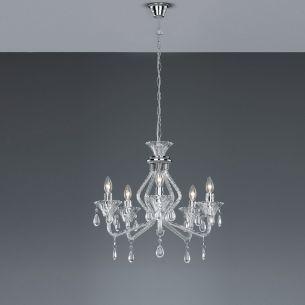 5 flammiger Kronleuchter aus Acrylglas, Ø 53cm, Acryl in Transparent klar transparent, klar