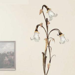 Stehleuchte im Florentiner Stil - Made in Italy - Dunkelbraun mit Goldelementen - Dekorglas