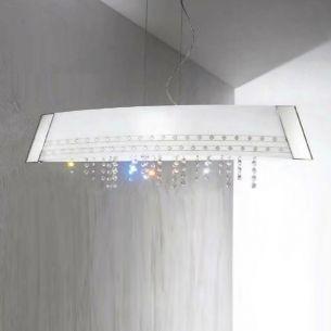 LED-Pendelleuchte - CARO BARCA -  von KOLARZ® in silber  90cm mit Kristallbehang