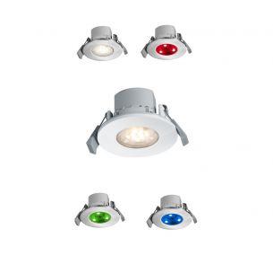 LED-Einbaustrahler 6,5W mit Fernbedienung - Farbwechsel - Lichtfarbe einstellbar - dimmbar - in Weiß oder Aluminium gebürstet, IP65