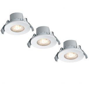 3-er Set LED-Einbaustrahler je 6,5W mit Fernbedienung - Farbwechsel - Lichtfarbe einstellbar - dimmbar - in Weiß, IP65 weiß, lackiert