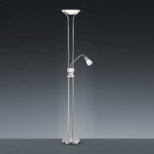 Klassischer Standfluter mit innovativer LED-Technik - in Nickel matt oder Altmessing - 1x 18Watt + 4,5Watt Leselicht