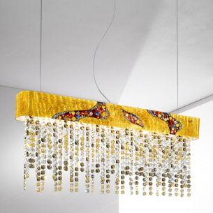 Kristall-Balkenpendel PRISMA STRETTA KISS von Kolarz® in 24-Karat Gold mit funkeldem Behang