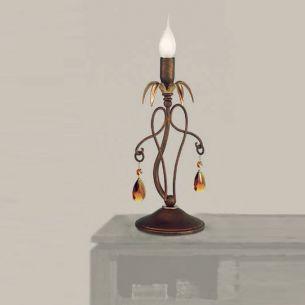 Tischleuchte im Florentiner-Stil - 1- flammig - Oberfläche Antik-Gold mit 24 Karat - Amberfarbige Kristall-Anhänger