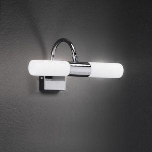 Spiegelleuchte - Wandleuchte, 2 flammig, Chrom glänzend mit weißem Glas, inklusive 2x 33Watt  Halogen-Leuchtmittel G9