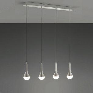 LED-Pendelleuchte aus Aluminium - gebürstet - Glas weiß- inklusive 4 x 4,5Watt LED in warmweißer Lichtfarbe