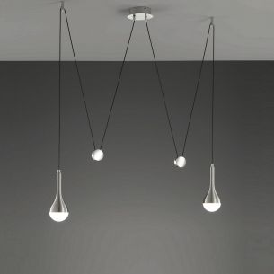 LED-JoJo-Pendelleuchte aus Aluminium gebürstet - Glas weiß- inklusive 2 x 4,5Watt LED in warmweißer Lichtfarbe