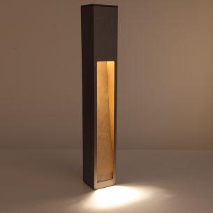 Wegeleuchte aus gebürstetem rostfarbenem Aluminium mit einseitigem Lichtaustritt