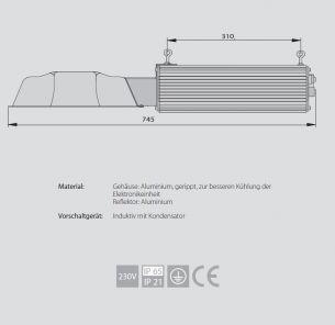 1x 400 Watt, 74,50 cm