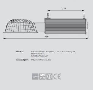 1x 600 Watt, 79,80 cm