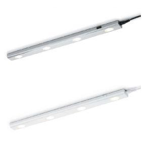 LED-Unterbauleuchte - Kunststoff Weiß oder titanfarbig - Inklusive LED 4 x 1 Watt  4 x 90 Lumen  3000 Kelvin