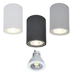 LED-Downlight aus Aluminium - 3 Farben - Weiß, Grau oder Anthrazit -  inklusive warmweißer 7W LED, 2800°K